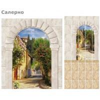 Стеновая панель ПВХ UNIQUE Салерно (панно из четырех панелей), фон фрески бежевый